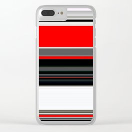 red white black grey striped pattern Clear iPhone Case