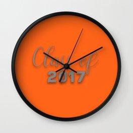 Class of 2017 - Orange and Grey Wall Clock