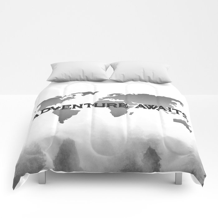 Adventure awaits morning forest black and white world map comforters adventure awaits morning forest black and white world map comforters gumiabroncs Image collections