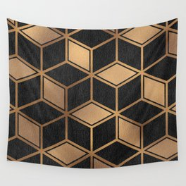 Charcoal and Gold - Geometric Textured Cube Design II Wall Tapestry