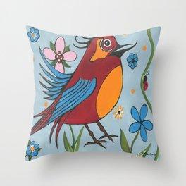 Silly Bird Throw Pillow