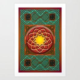 Celtic Knotwork panel in Persian Green Art Print