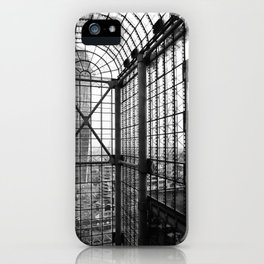 Lloyds London Atrium Glass & Steel Black and White Monochrome Photography Art Print iPhone Case