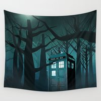 olaf Wall Tapestries featuring Tardis in the Forest of The Night by neutrone