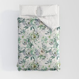 Country white green rustic watercolor floral Comforters