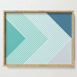 Teal Vibes - Geometric Triangle Stripes Serving Tray