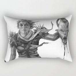 Warrior 2 Black and White Rectangular Pillow