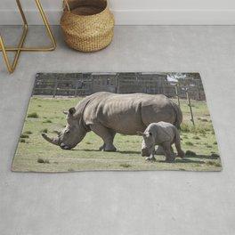 White Rhino and Calf Rug