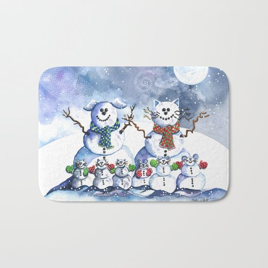It's Snowing Cats and Dogs (and Mice too) Bath Mat