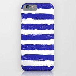 Hand-Drawn Stripes (Navy Blue & White Pattern) iPhone Case