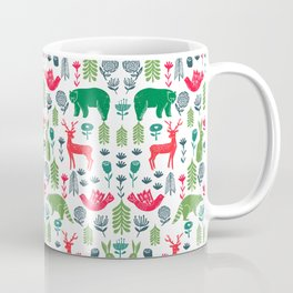 Christmas woodland scandinavian folk animals forest nature pattern gifts Coffee Mug