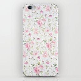 Elegant blush pink white vintage rose floral iPhone Skin