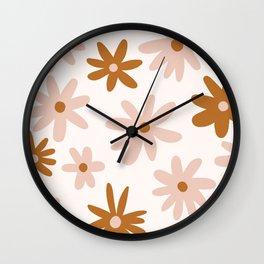 Warm Tone Florals Wall Clock