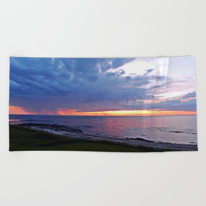 Sunset at Sea and the Rain Storm Beach Towel