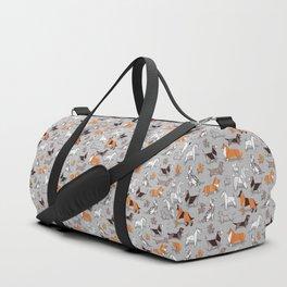 Origami doggie friends // grey linen texture background Duffle Bag