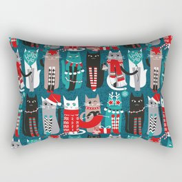 Feline Christmas vibes // dark teal background grey mint white brown and black kittens Rectangular Pillow