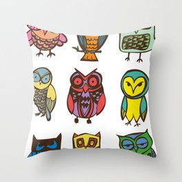 Owlies Throw Pillow