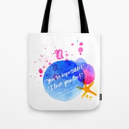 """Percy Jackson Percabeth House of Hades """"I love you too!"""" Quote Tote Bag"""