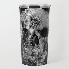 Floral Marble Skull Travel Mug
