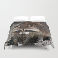 racoon Duvet Covers featuring Racoon by MehrFarbeimLeben