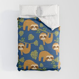 Cute Sloths on Blue, Baby Sloth Hanging Comforters