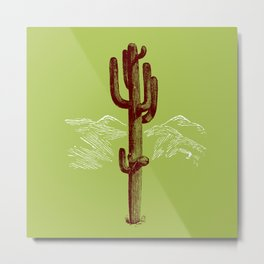 cactus y nieve Metal Print