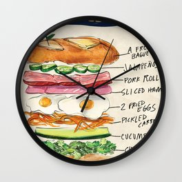 Banh Mi Sandwich Recipe Wall Clock