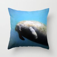 manatee Throw Pillows featuring Manatee by BlueMoonArt