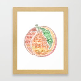 Peach Fruit illustrated with cities of Florida State USA Framed Art Print
