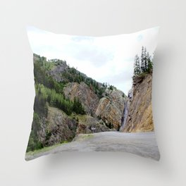 Drive Around the Curve onto a Shelf Above the Spectacular, but Frightening, Uncompahgre Gorge Throw Pillow