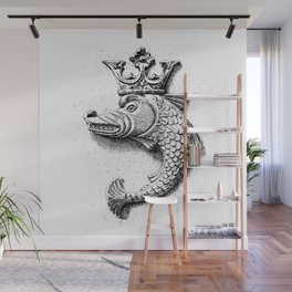 Fish Grotesque with Crown | Black and White | Wall Mural