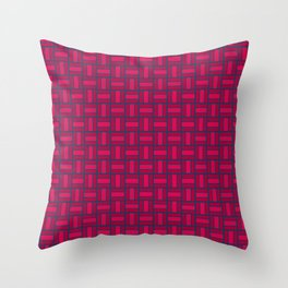 REITERATE - candy apple carmine red and blue block repeat pattern Throw Pillow
