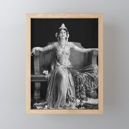 Mata Hari, Famous French Dancer and Femme fatale black and white photograph / black and white photography Framed Mini Art Print