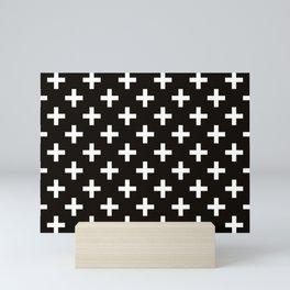 Crosses   Criss Cross   Plus Sign   Hygge   Scandi   Black and White   Mini Art Print