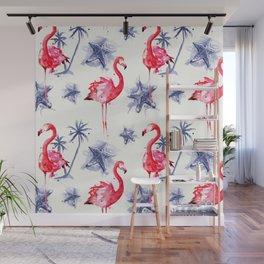 Beach Flamingos Wall Mural
