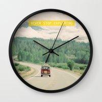 sister Wall Clocks featuring NEVER STOP EXPLORING - vintage volkswagen van by Leslee Mitchell