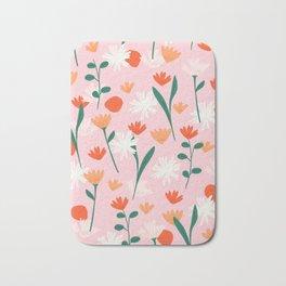 Summertime Floral Pattern Bath Mat