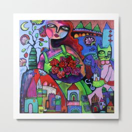 Rosie and the Cat Mother Metal Print