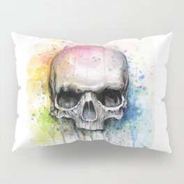 Skull Rainbow Watercolor Pillow Sham