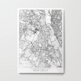 New Delhi Map White Metal Print