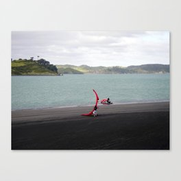 """LAUNCHING RAGLAN"" kitesurf . kite . surf Canvas Print"