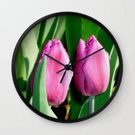 Tulips in the Rain Wall Clock