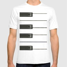 Piano Keys Mens Fitted Tee White LARGE