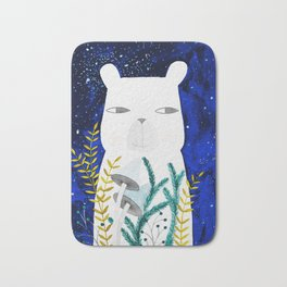 polar bear with botanical illustration in blue Bath Mat