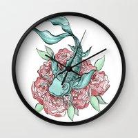 koi fish Wall Clocks featuring Koi Fish by Bare Wolfe