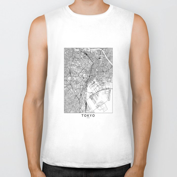 Tokyo White Map Biker Tank