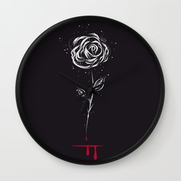 White rose with bloody wound Wall Clock