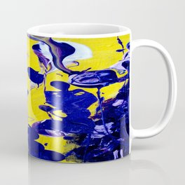 Ultra Violet Blue Yellow Abstract Paint Coffee Mug