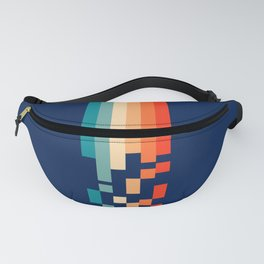 Classic 70s Style Abstract Rainbow Retro Stripes Pixel Drops - Ayako Fanny Pack