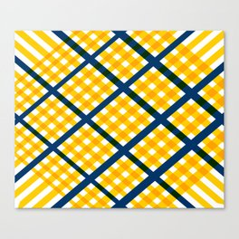 GEOMETRIC YELLOW AND BLUE Abstract Art Canvas Print